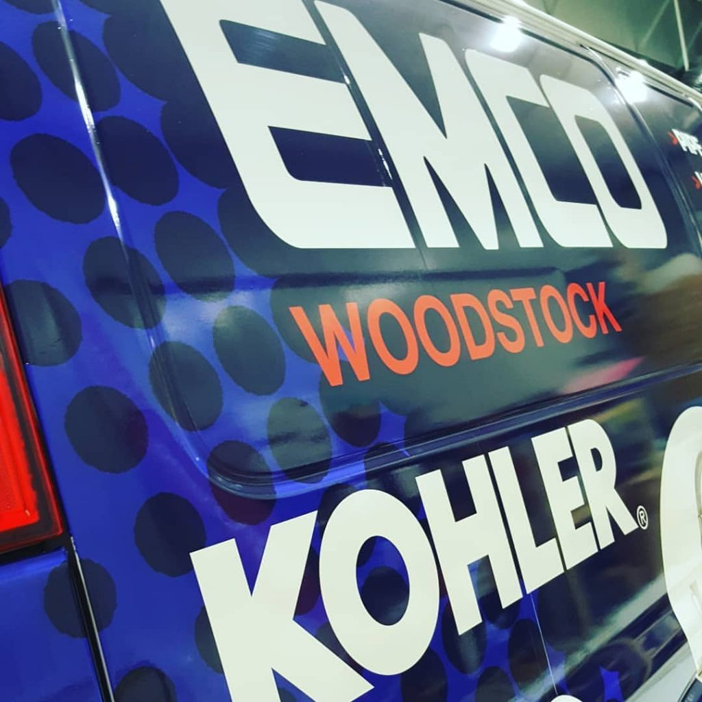 close up of van wrap