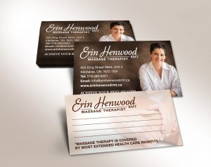 stack of business cards for registered massage therapist