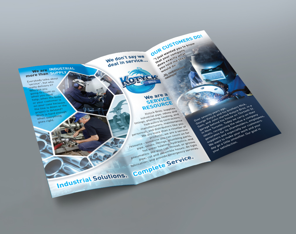 inside spread of printed business brochure